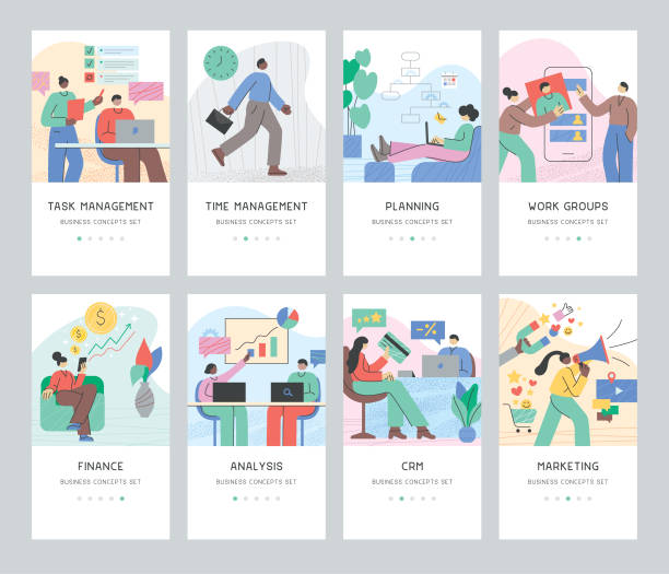 business concepts set - diversity stock illustrations