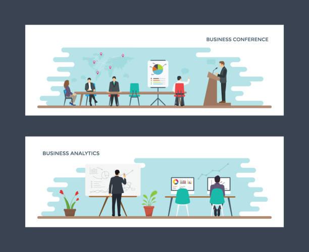ilustrações de stock, clip art, desenhos animados e ícones de business conference and business analysis flat illustration - business meeting