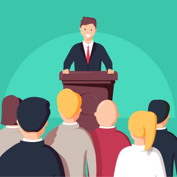 ビジネス会議、営業会議。聴衆の前で演壇で男。公共のスピーカー - ステージのイラスト点のイラスト素材/クリップアート素材/マンガ素材/アイコン素材