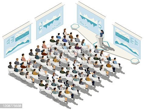 istock Business conference. Business presentation. Woman speech. Indicators and schedules process, coaching. Vector isometric, 3d, illustration. 1208775538