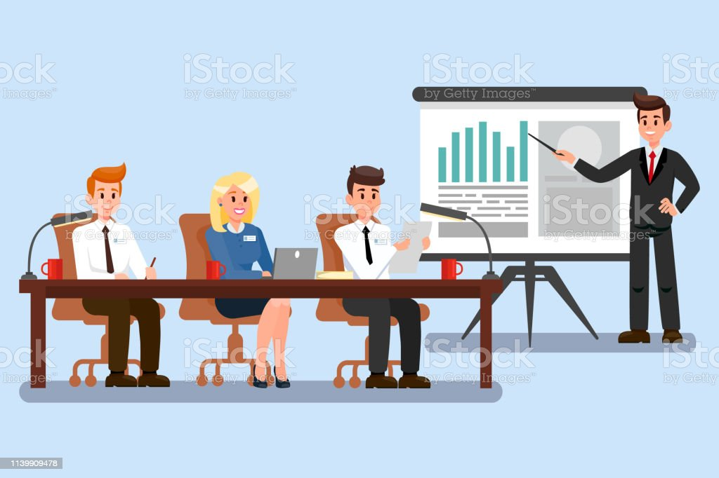 Business Conference Color Vector Illustration vector art illustration