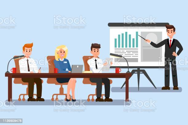 Business Conference Color Vector Illustration Stock Vektor Art und mehr Bilder von Analysieren
