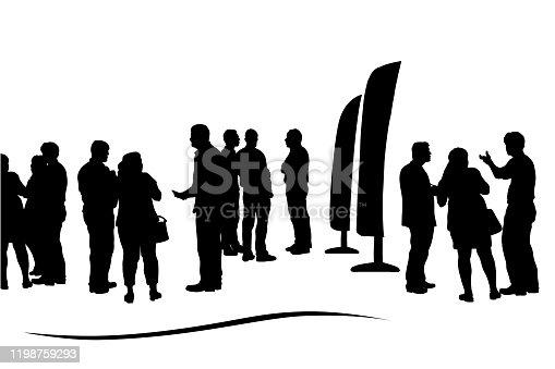 istock Business Conference Crowd Silhouettes 1198759293