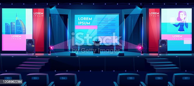 istock Business conference hall cartoon vector background 1208962284