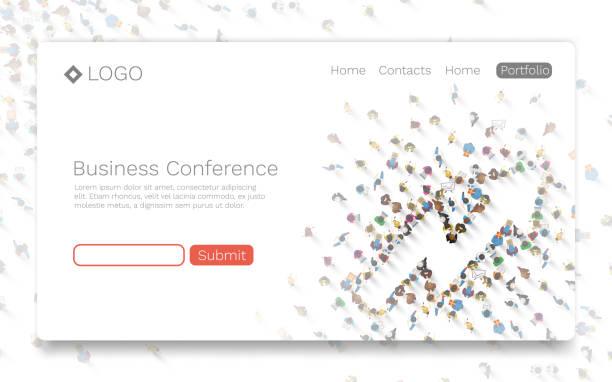 bildbanksillustrationer, clip art samt tecknat material och ikoner med företagskonferens, landning sida koncept. - paper mass