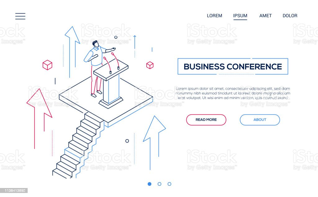 Business conference - line design style isometric web banner