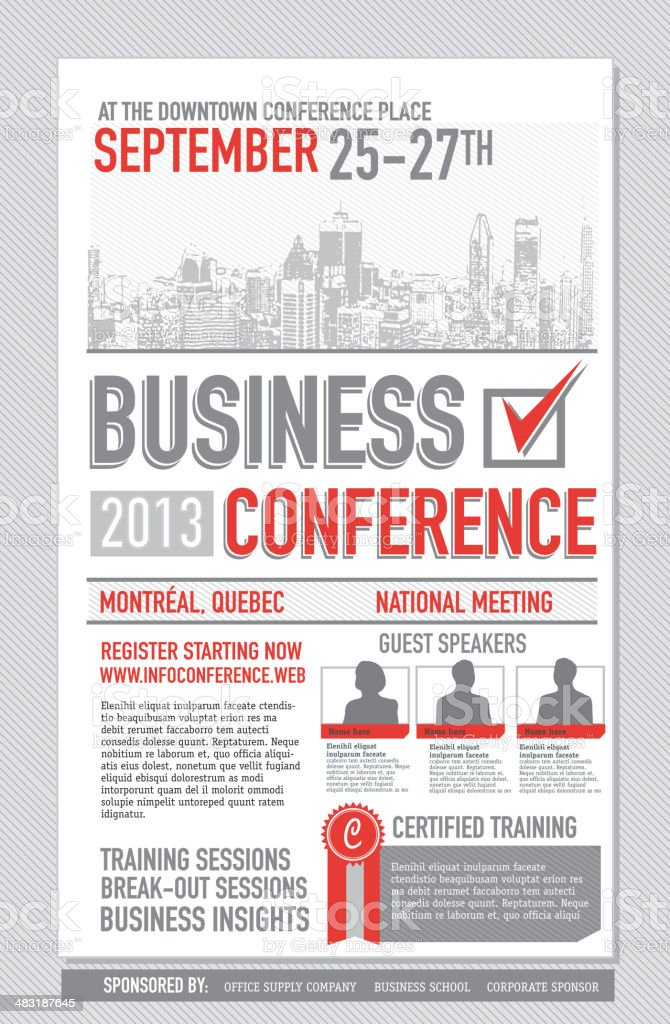 Business Conference poster design template Vector illustration of a business conference poster design template. Includes sample text and design elements such as grunge cityscape, blank photo templates for guest speakers and checkmark. Download includes Illustrator 8 eps, high resolution jpg and png file. See my portfolio for other business conference designs and templates. Business stock vector