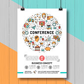 Vector business conference poster templates A4 size. Shopping, e-commerce and marketing isolated line art icons. Design mock-up flyers, banners, covers, catalog on creative wooden background