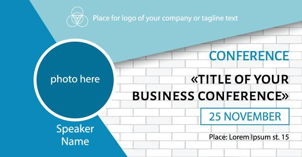 business conference template. facebook event link banner design - invitations templates stock illustrations