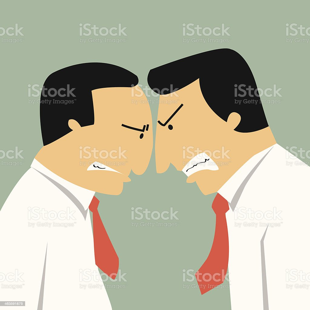 Business confrontation vector art illustration