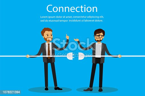 Business connection,caucasian businessmen,teamwork,flat vector illustration.