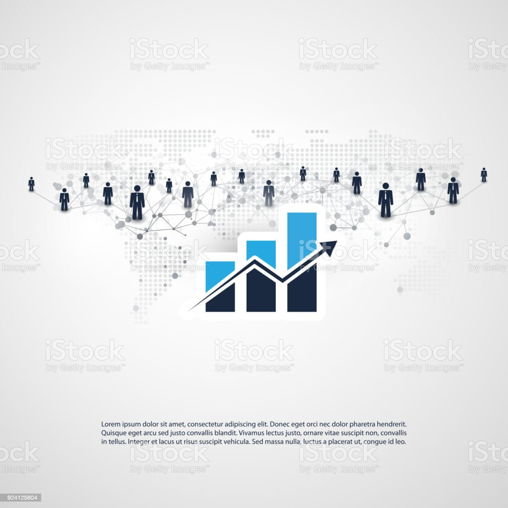 Business Connections - Worldwide Financial Network, Online Business Management Concept Design vector art illustration