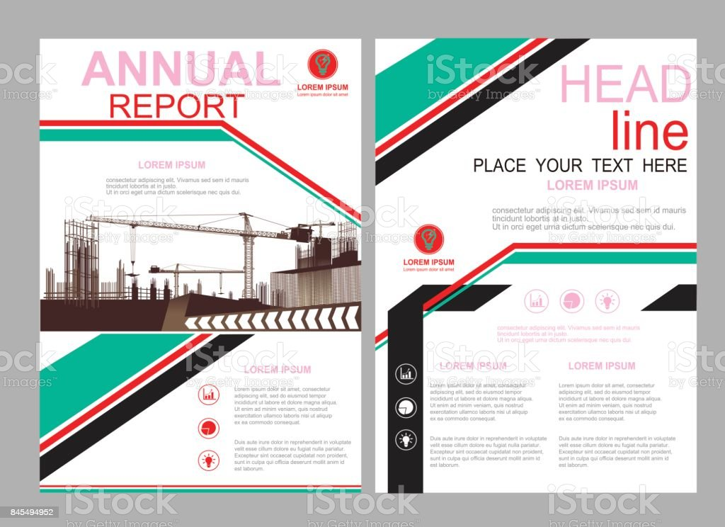 Business Construction Annual Report Brochure Flyer Design Template