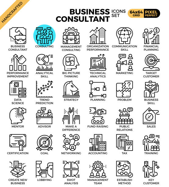 Business consultant icons vector art illustration