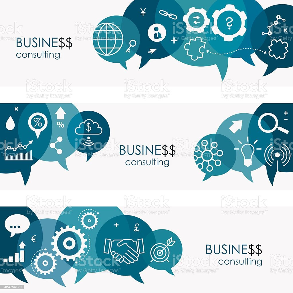 Business Consulting Banners And Icon Set vector art illustration