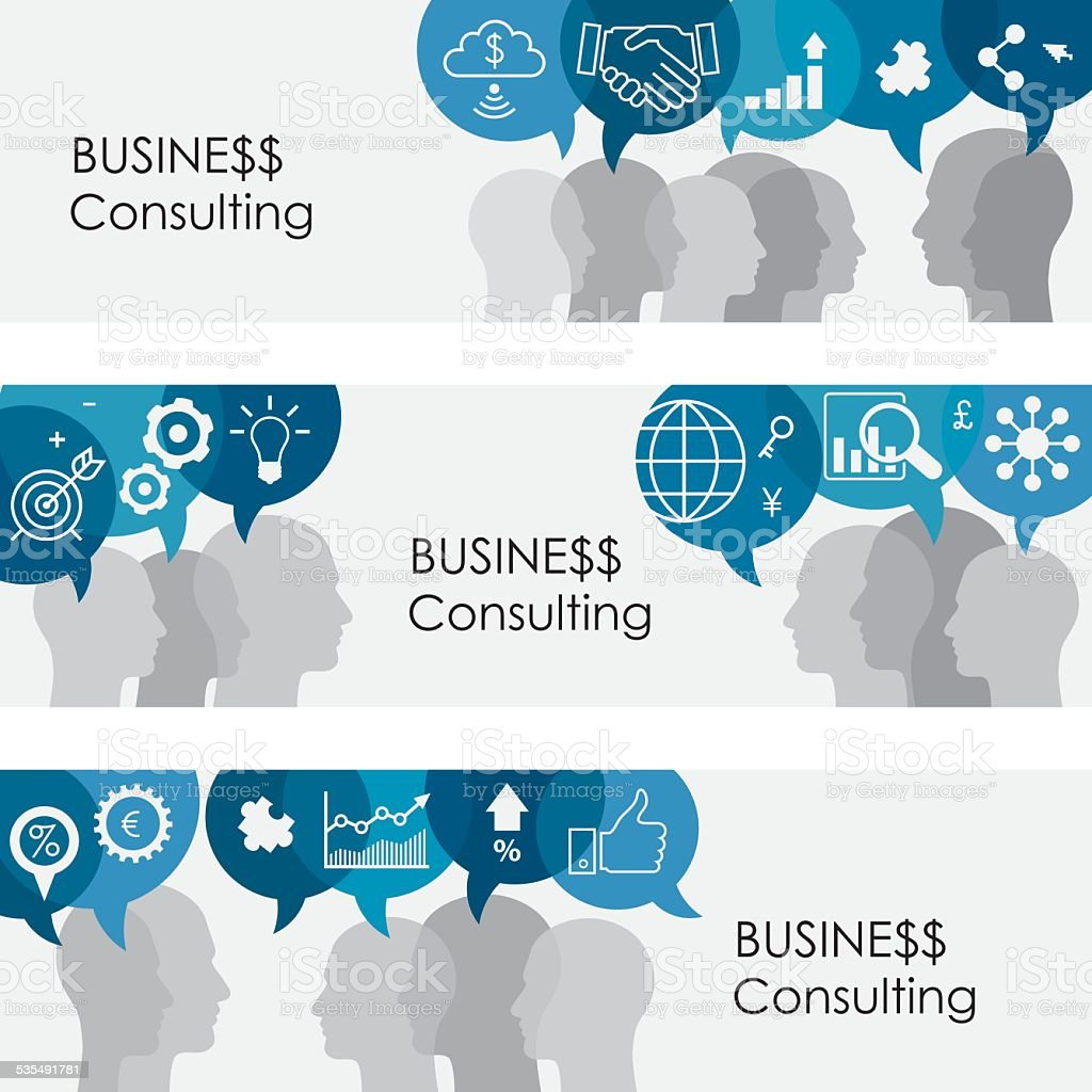 Business Consulting Banners vector art illustration