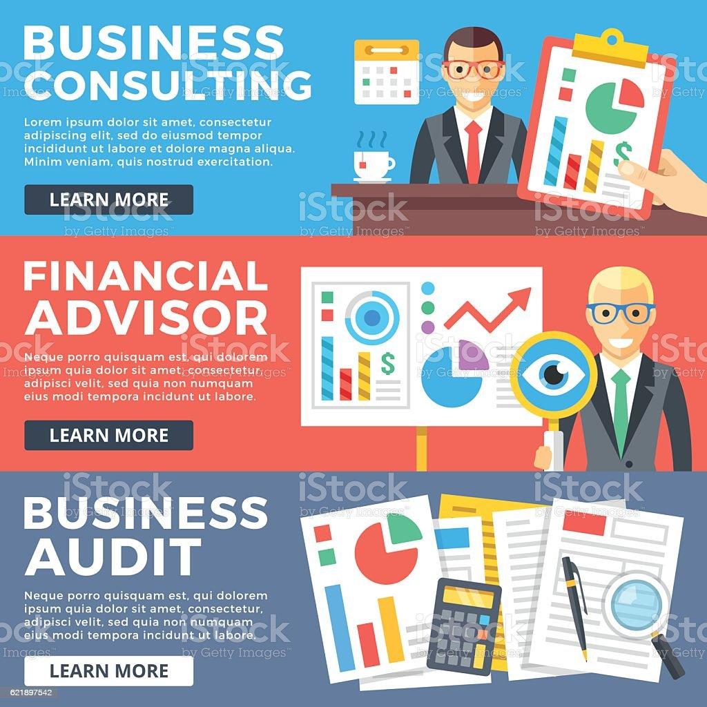 Business consulting, financial advisor, business audit flat illustration concepts set vector art illustration