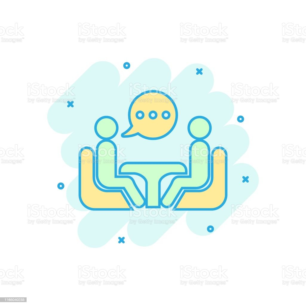 Business consulting icon in comic style. Two people with table vector...