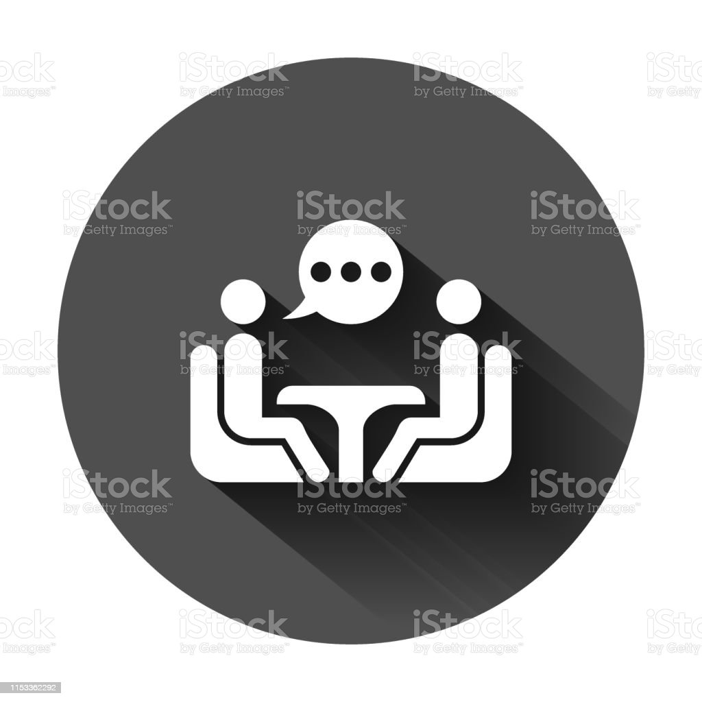 Business Consulting Icon In Flat Style Two People With Table Vector Illustration On Black Round Background With Long Shadow Restaurant Dialog Business Concept Stock Illustration Download Image Now Istock