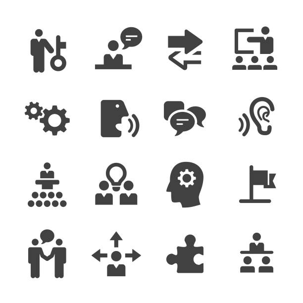 business consulting icon set - acme series - umiejętność stock illustrations