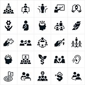 A set of business consulting icons. The icons include consultants putting on trainings, presentations and meetings. They include consultants, presenters, support, assistance, puzzle piece, goals, solutions, knowledge, growth and other concepts.