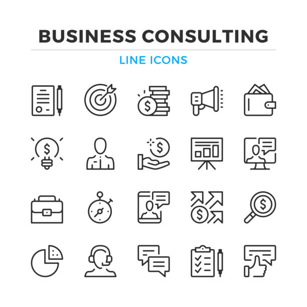 bildbanksillustrationer, clip art samt tecknat material och ikoner med business consulting linje ikoner anger. moderna dispositionselement, grafisk designkoncept. stroke, linjär stil. enkla symboler samling. vektor linje ikoner - prestation