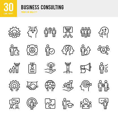 Business Consulting - set of thin line vector icons clipart