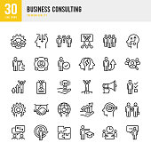 Business Consulting - set of thin line vector icons