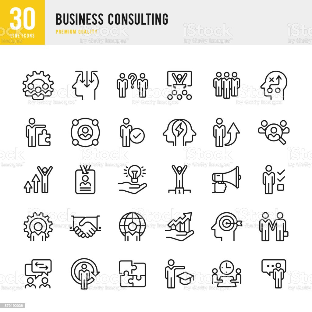 Business Consulting - dünne Linie Vektor-Icons set – Vektorgrafik