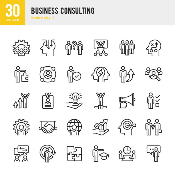 stockillustraties, clipart, cartoons en iconen met business consulting - dunne lijn vector icons set - leiderschap