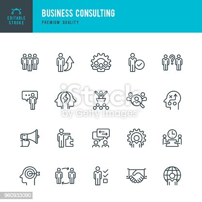 Set of Business Consulting thin line vector icons.