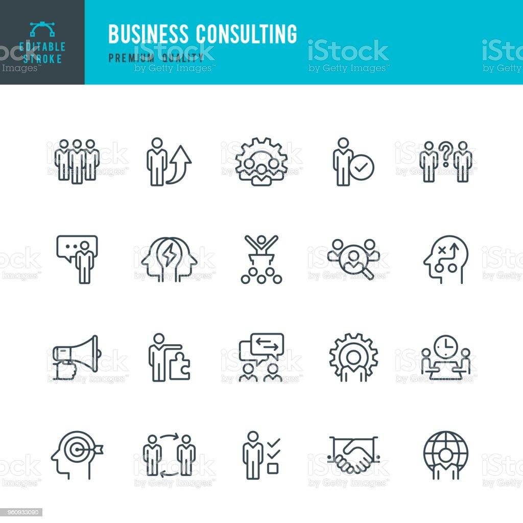 Consultoría comercial - conjunto de iconos de vector línea - ilustración de arte vectorial