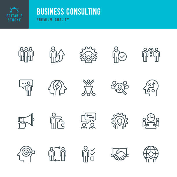 illustrazioni stock, clip art, cartoni animati e icone di tendenza di business consulting - set of vector line icons - icona line