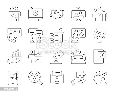 istock Business Consulting - Thin Line Icons 1153215675