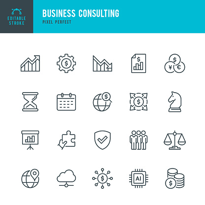 Business Consulting - thin line vector icon set. 20 linear icon. Pixel perfect. Editable outline stroke. The set contains icons: Business Strategy, Diagram, Financial Report, Artificial Intelligence, Group Of People, Financial Process.