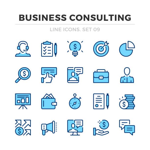 stockillustraties, clipart, cartoons en iconen met business consulting vector lijn iconen set. dun lijn ontwerp. overzicht van grafische elementen, eenvoudige stroke symbolen. pictogrammen voor bedrijfsanalyse - financieel adviseur