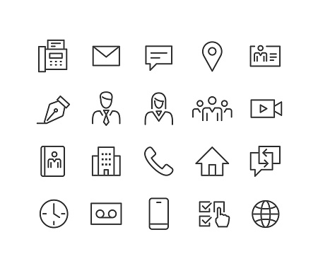 Business Contact Icons - Classic Line Series