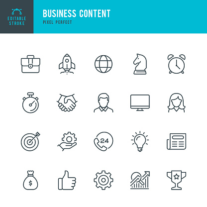 Business Content - thin line vector icon set. Pixel perfect. Editable stroke. The set contains icons: Startup, Business Strategy, Data Analysis, Budget, Target, Award, Portfolio, Man, Women, Idea, Contact Us.
