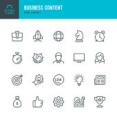 Business Content - thin line vector icon set. 20 linear icon. Pixel perfect. Editable outline stroke. The set contains icons: Startup, Business Strategy, Data Analysis, Budget, Target, Award, Like Button, Portfolio, Man, Women, Idea, Contact Us.