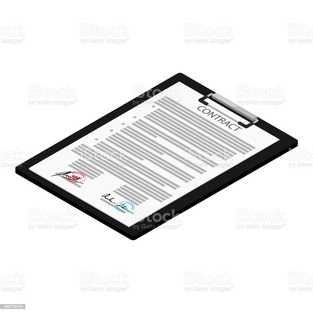 Business contract and pen vector art illustration