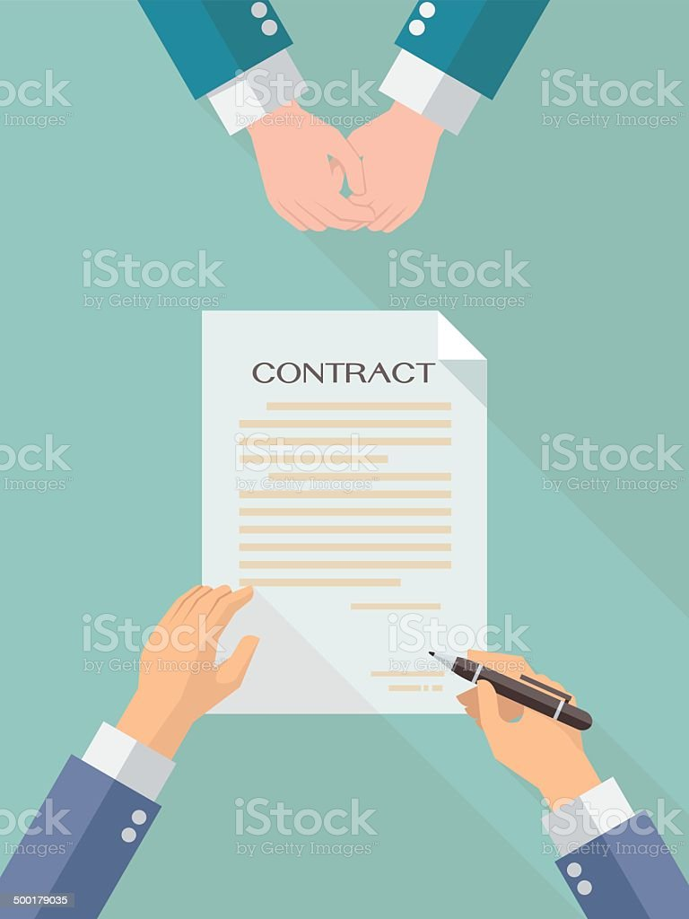Business contract signing vector art illustration