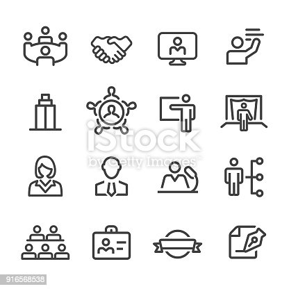 istock Business Convention Icons - Line Series 916568538