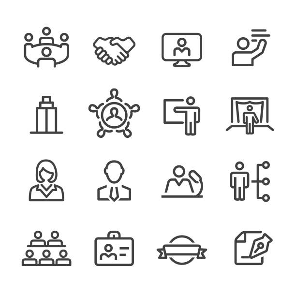 business convention icons - line serie - meeting stock-grafiken, -clipart, -cartoons und -symbole