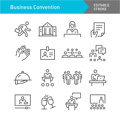 Business Convention Icons Set - Line Series - Editable Stroke