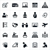 Convention icons that include presenters, audience members, business people, learning, convention center, meetings among others. The icons represent common business conventions and symbols associated with them.