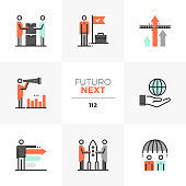 Modern flat icons set of business cooperation, competitive advantage. Unique color flat graphics elements with stroke lines. Premium quality vector pictogram concept for web, logo, branding, infographics.