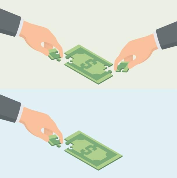 zusammenarbeit, investitionen und crowdfunding geschäftskonzept. händen setzen geldschein puzzle zusammen - portion stock-grafiken, -clipart, -cartoons und -symbole
