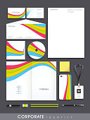 Professional corporate identity set with colorful abstract wave effect for your business includes CD Cover, Business Card, Envelope, ID Card, Smartphone and Letterhead.