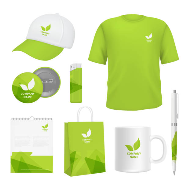 Business corporate identity. Various souvenirs with advertizing templates Business corporate identity. Various souvenirs with advertizing templates. Vector identity company clothing branding, promotional t-shirt and pack illustration for sale stock illustrations