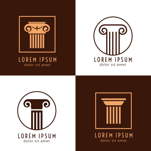 Business corporate identity with columns. Ancient column logo vector set vector art illustration